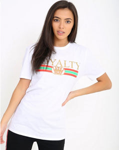 APRIL WHITE & GOLD PRINT 'ROYALTY' STATEMENT T-SHIRT
