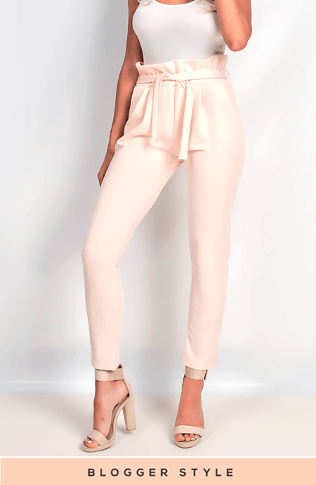 KARIS NUDE PAPER BAG TROUSERS
