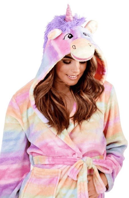 ADULTS RAINBOW UNICORN SUPER-SOFT HOODED ROBE