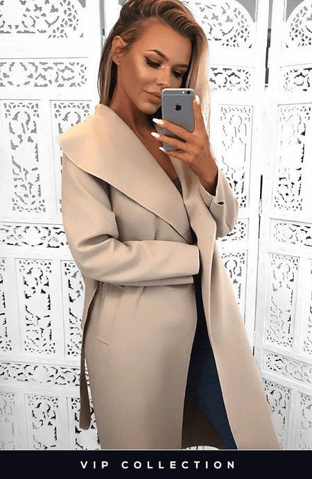 FRANCESCA BEIGE BELTED WATERFALL COAT