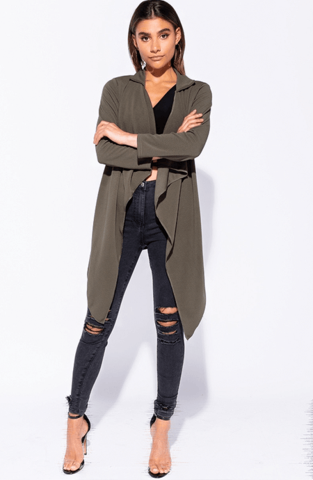 ADELE KHAKI TIE WAIST WATERFALL COAT