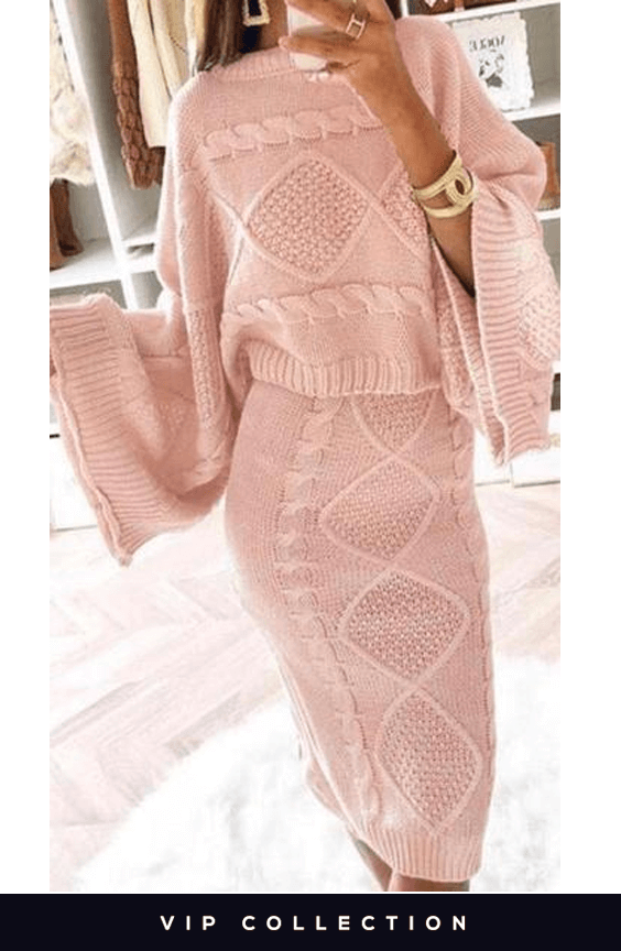 PINK ITALIAN CABLE PATTERNED KNITTED TWO PIECE SET