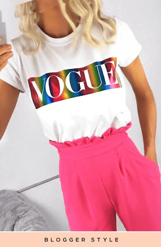 AMBER WHITE RAINBOW FOIL VOGUE TOP