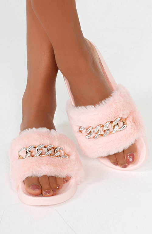 CHARLINE PINK DIAMANTE CHAIN FAUX FUR SLIDERS