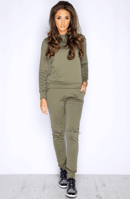 RHIA KHAKI ZIP SWEATSHIRT & JOGGERS CO-ORD SET