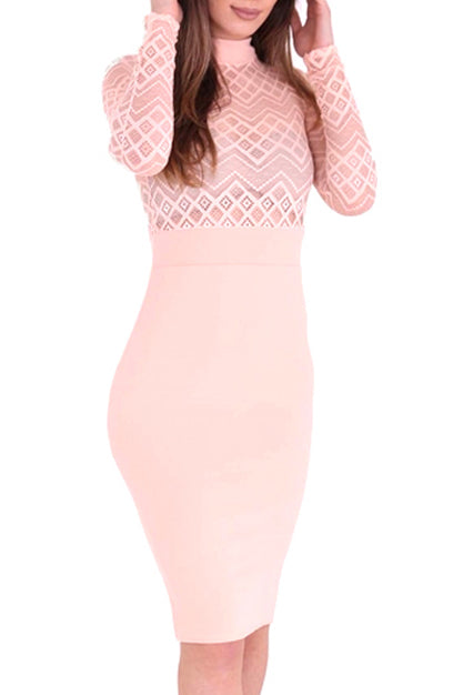HALLIE NUDE AZTEC DESIGN BODYCON DRESS