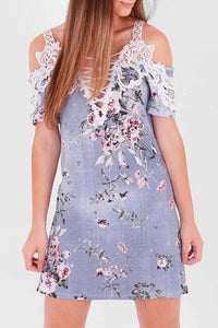 Sky Blue Floral Crochet Trim Denim Effect Dress