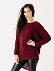 SOPHIA WINE DIPPED HEM BATWING TOP