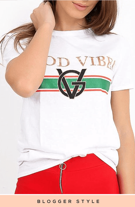 ERICA 'GOOD VIBES' WHITE & GOLD PRINT T-SHIRT
