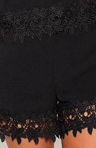 MONIQUE BLACK LUXURY LACE TRIM PLAYSUIT