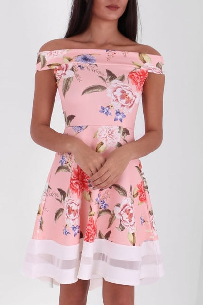 Kellie Nude Bardot Skater Dress
