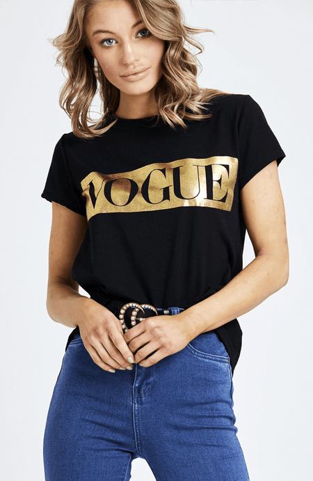 DANIELLE BLACK & GOLD FOIL PRINT VOGUE T-SHIRT
