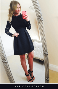 HOLLY BLACK LACE SKATER DRESS