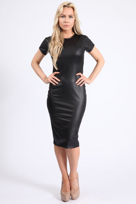 NICOLE WET LOOK MIDI DRESS
