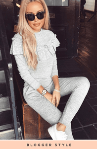 LACEY GREY FRILL DETAIL LUXURY LOUNGE SET