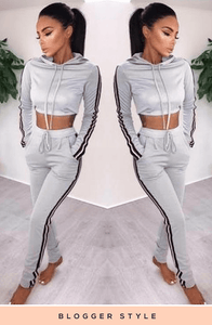 EVIE GREY STRIPE DETAIL SWEATSHIRT & JOGGERS SET