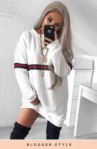 JESS WHITE OVERSIZED JUMPER WITH SPORT STYLE DETAIL DRESS