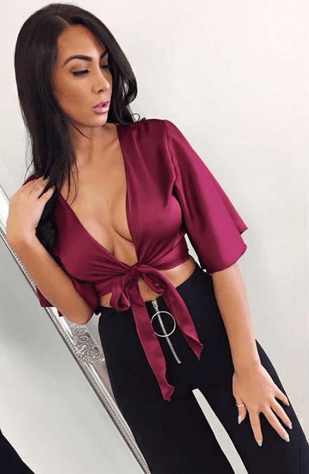 TIA WINE SATIN TIE FRONT PLUNGE TOP