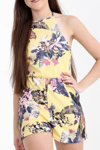 MARIANNE  LEMON SUMMER FLORALS HALTERNECK PLAYSUIT