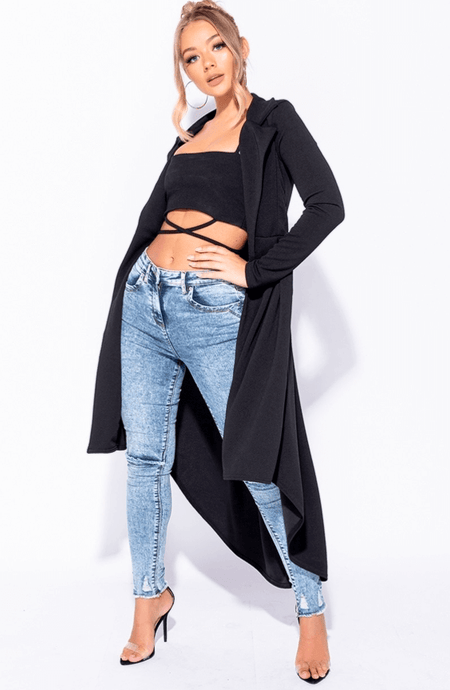 TABITHA BLACK LONGLINE HI LO FLARED PLEAT JACKET