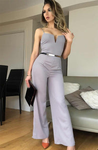VIP LOIS SILVER GREY BELTED JUMPSUIT