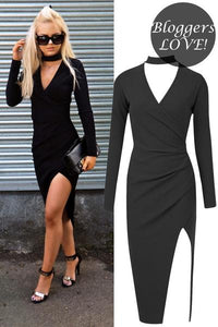 Jessica Black Asymmetric Choker Bodycon Dress