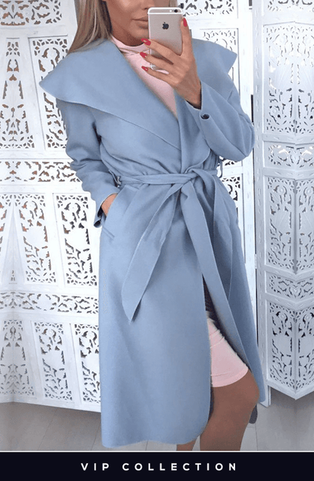 FRANCESCA BABY BLUE BELTED WATERFALL COAT