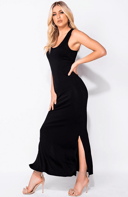 ORLA BLACK ESSENTIAL SIDE SLIT MAXI DRESS