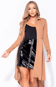 TABITHA CAMEL LONGLINE HI LO FLARED PLEAT JACKET