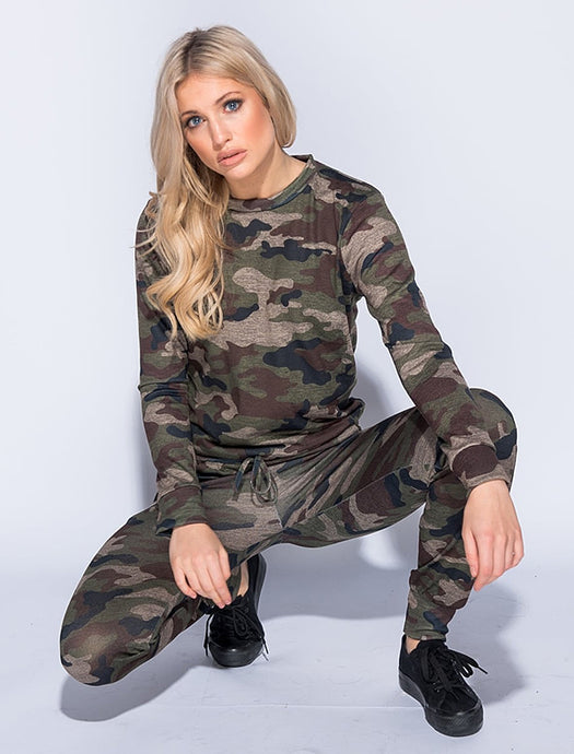 KATIE MILITARY CAMO SWEATSHIRT & JOGGERS CO-ORD SET