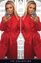 FRANCESCA RED BELTED WATERFALL COAT