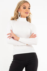 CLAIRE CREAM POLO RIBBED LONG SLEEVED TOP
