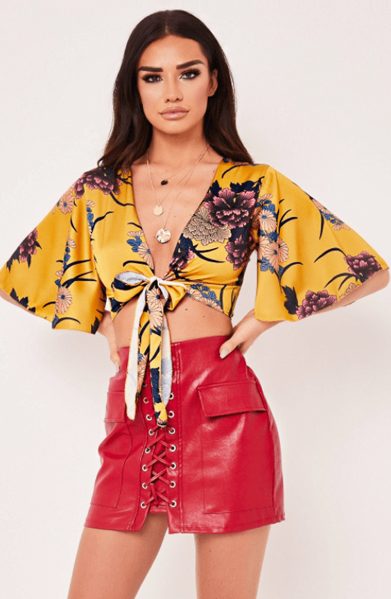 JANELLE YELLOW TIE FRONT FLORAL TOP