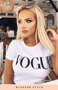 JESSIKA WHITE VOGUE SLOGAN TOP