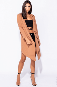 ADELE CAMEL TIE WAIST WATERFALL COAT