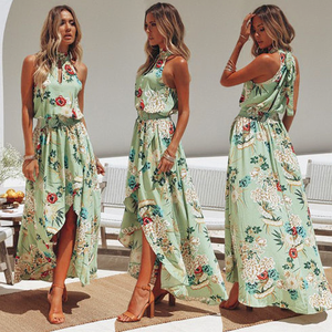 IMOGEN GREEN DIPPED HEM FLORAL MAXI DRESS