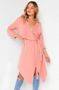 ADELE ROSE PINK WATERFALL COAT