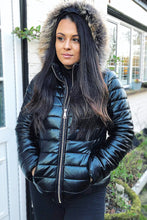 SOPH BLACK WET LOOK PUFFER COAT