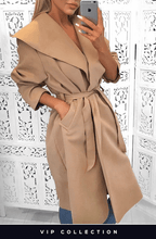 FRANCESCA CAMEL BELTED WATERFALL COAT