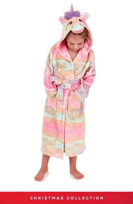 KIDS RAINBOW UNICORN SUPER-SOFT HOODED ROBE