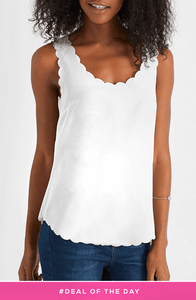 EVE WHITE SCALLOP VEST  TOP