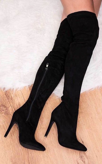 KALINI BLACK FAUX SUEDE OVER KNEE STILETTO HEEL BOOTS