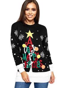 CORA BLACK VERY MERRY CHRISTMAS TREE JUMPER