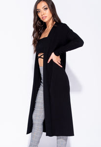 INEZ BLACK EDGE TO EDGE MAXI CARDIGAN