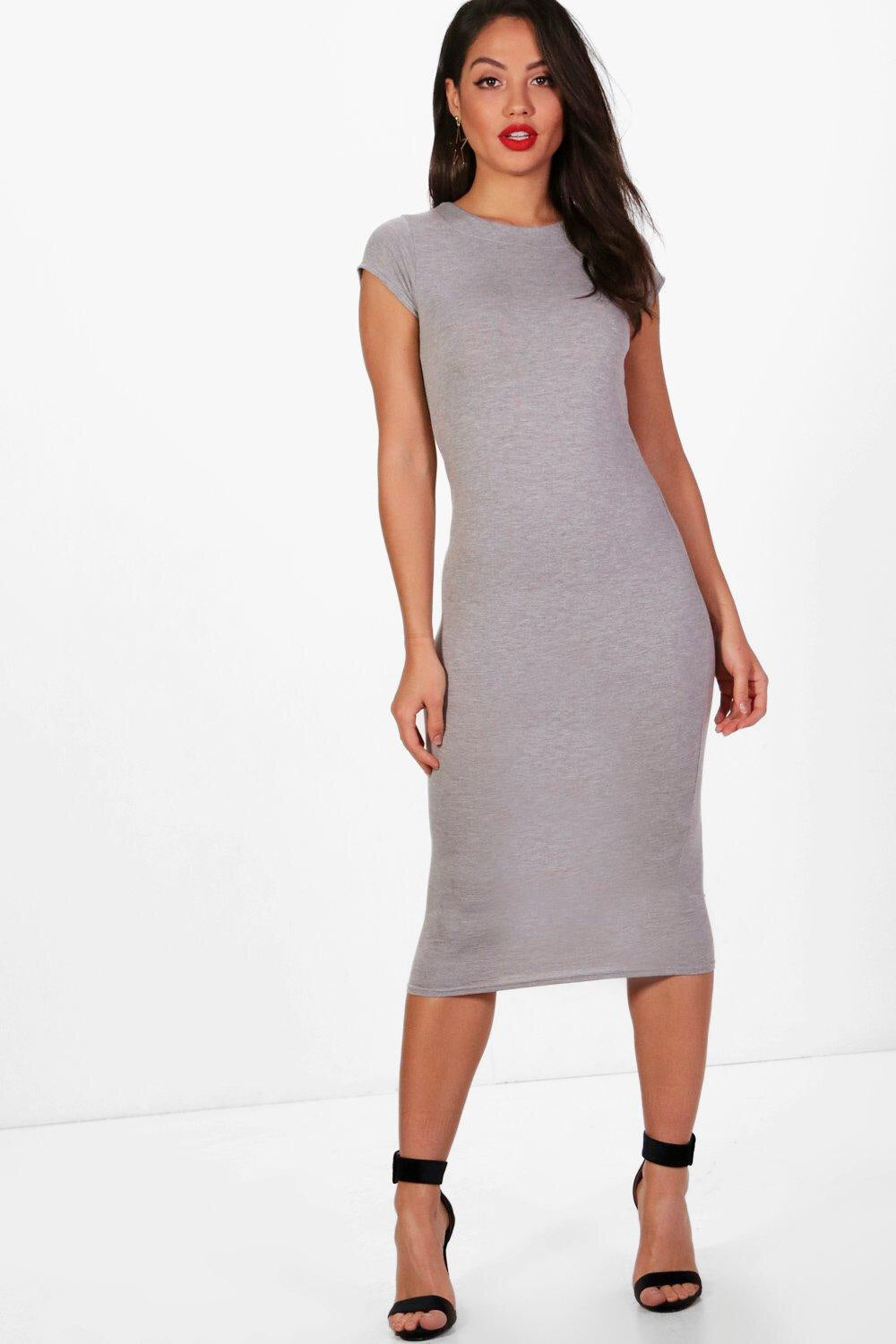ANNA-LORRIE SOFT GREY MIDI DRESS