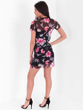 ALMA ROSE FLORAL MESH OVERLAY MINI DRESS