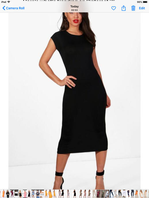 ANNA-LORRIE BLACK CAPPED SLEEVE MIDI DRESS