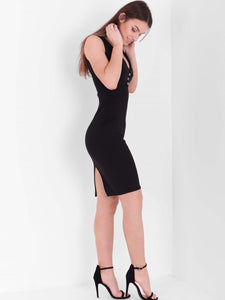 ALEXANDRIA BLACK PLUNGE NECK BODYCON DRESS