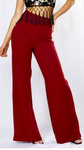 NATASHA WINE HIGH WAISTED FLARED TROUSERS