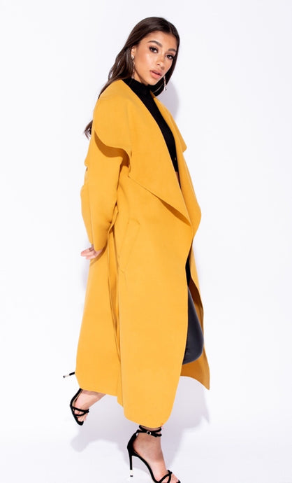 FRANCESCA MUSTARD  BELTED WATERFALL COAT